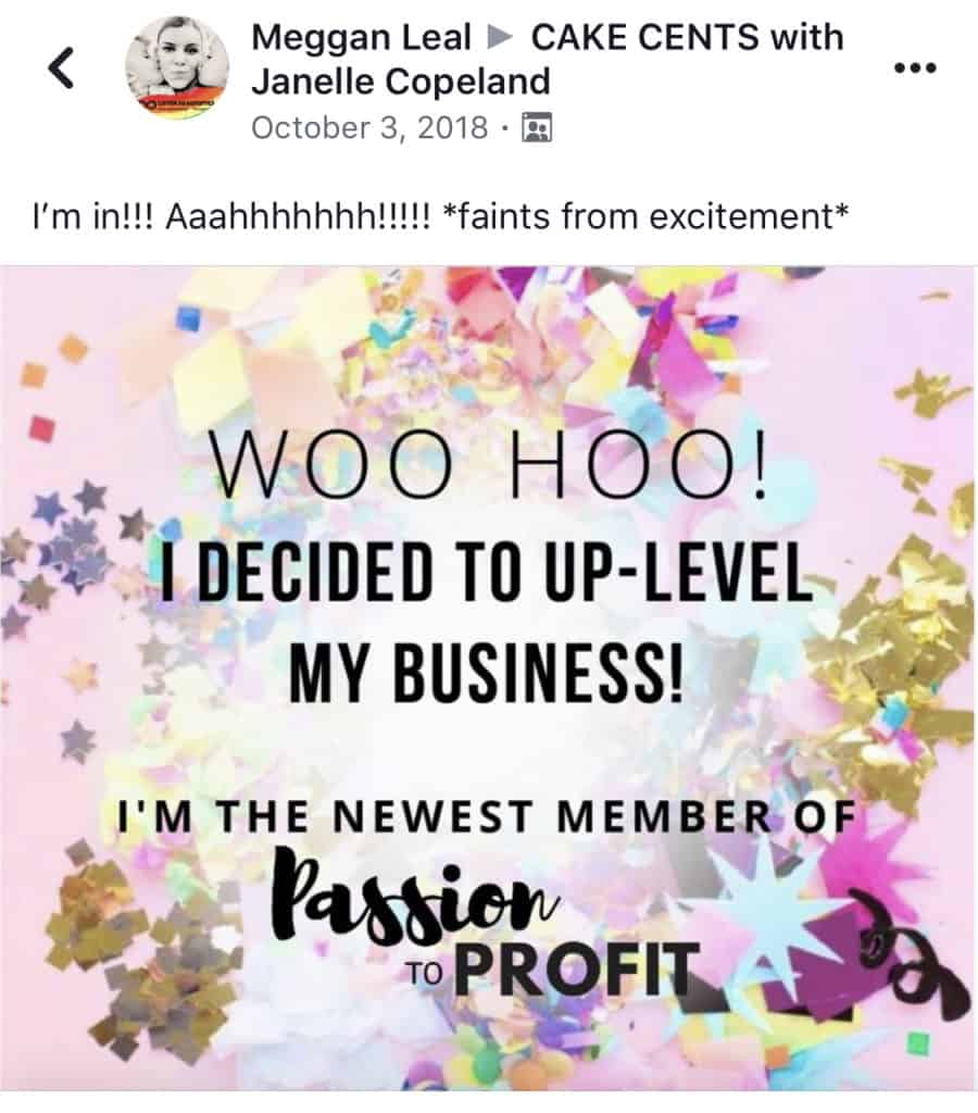 My official Facebook announcement post that I joined Passion to Profit