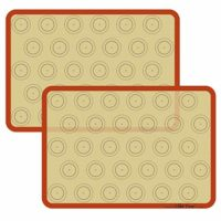 Set of Two Half-Sheet Size Silicone Baking Mats with Macaron Template