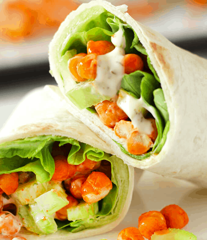 1. Easy Buffalo Chickpea Wraps