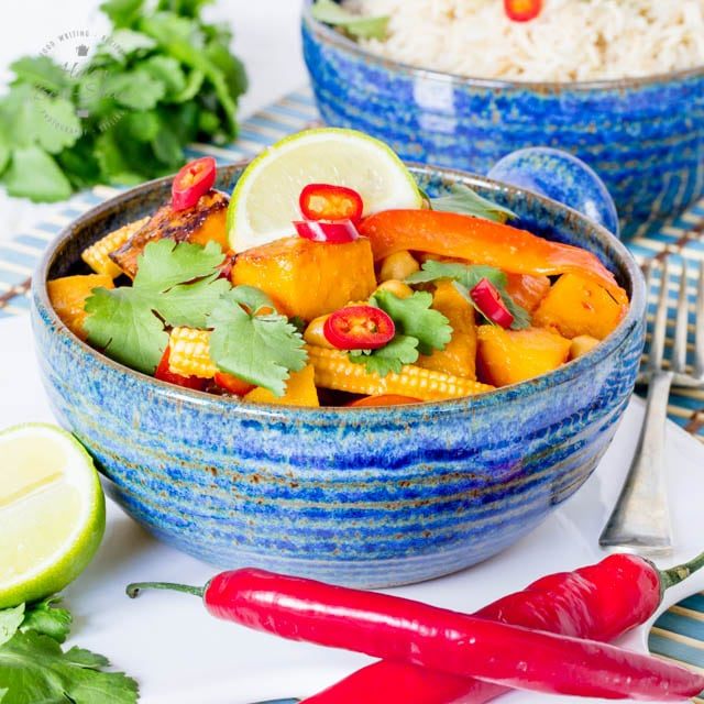 9. Easy Vegan Red Thai Curry with Roasted Butternut Squash & Chickpeas