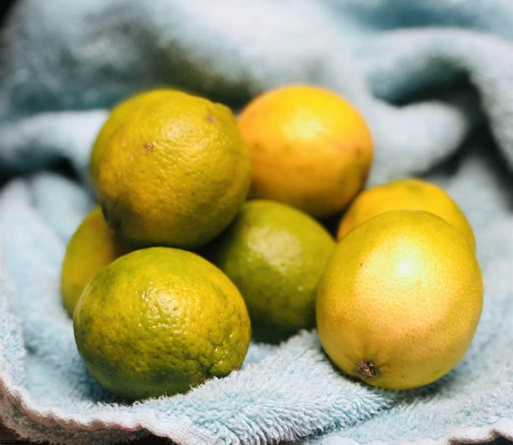 a pile of Meyer lemons on a light blue towel