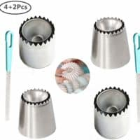 Hofumix Russian Piping Tips Baking Kits Piping Nozzles Sultan Ring Cookies Mold Kits Wilton Cake Decorating Supplies for Kitchen Gift(4 pack)