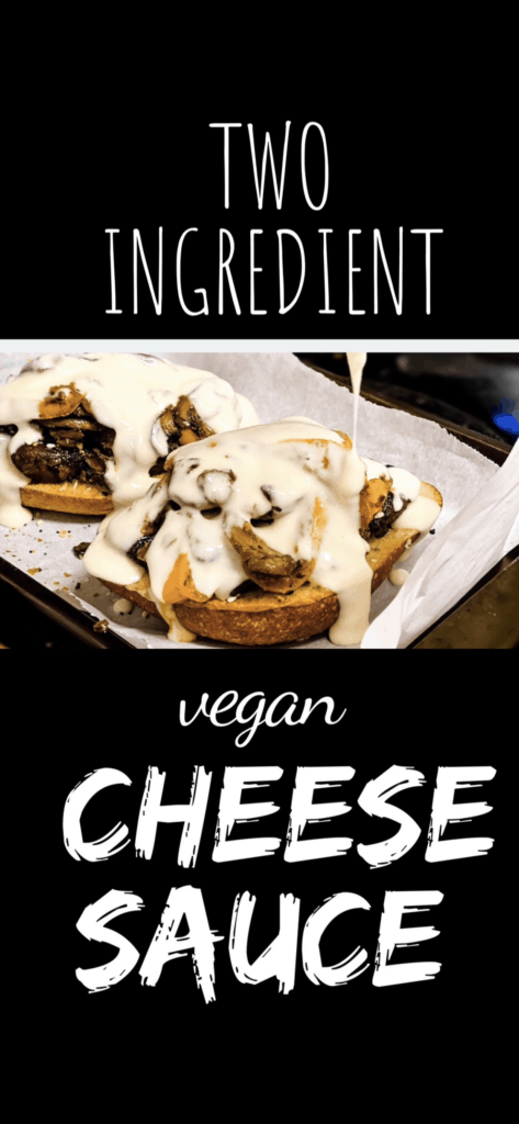 Pinterest image showing stretchy cheese sauce over an open faced sandwich