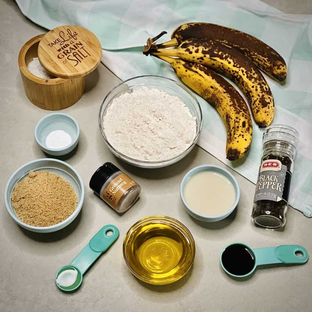 A top-down photo of all of the banana bread ingredients.